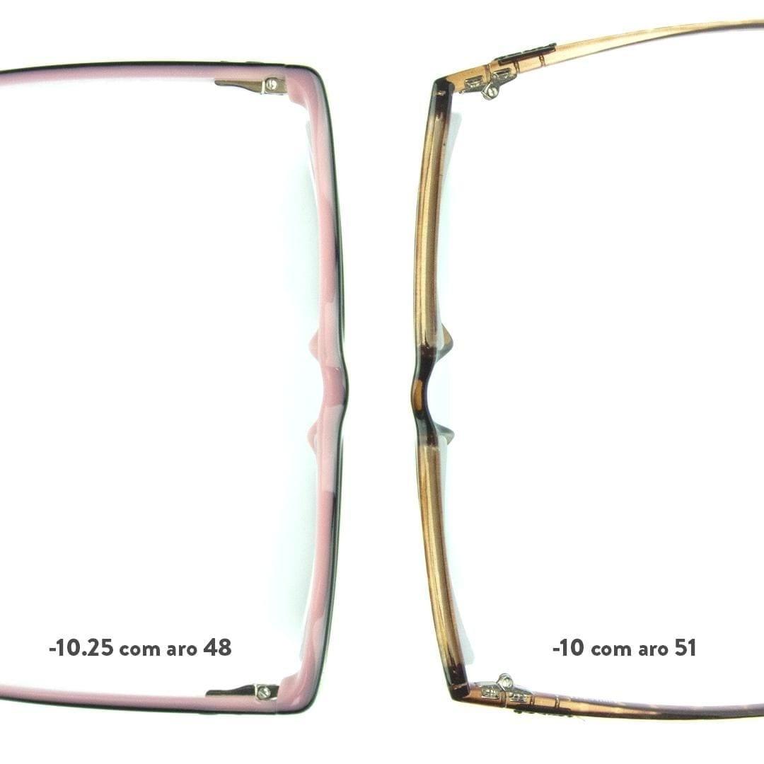 armação menor deixa a lente fina