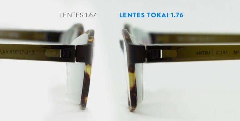 distorção na lateral da lente