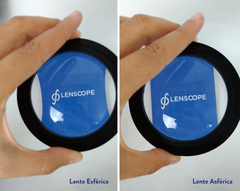 distorção na lateral das lentes
